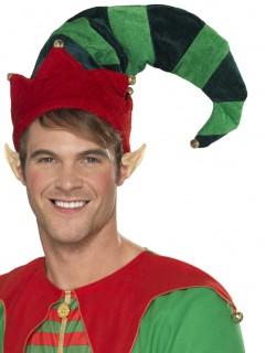 Lustiger Wichtelhut Weihnachtselfe mit Glocken rot-grün