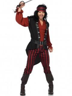 Piratenkostüm für Herren schwarz-rot