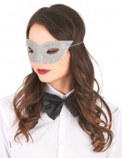 Venezianische Augenmaske Glitzer silber