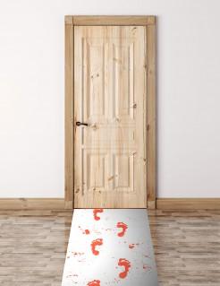 Teppich mit blutigen Fussabdrücken Halloween-Deko weiss-rot