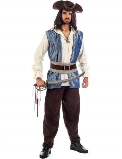 Pirat Seeräuber Herrenkostüm braun-weiss-blau