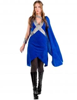 Edles Mittelalterkostüm für Frauen Drachenmutter blau-silber