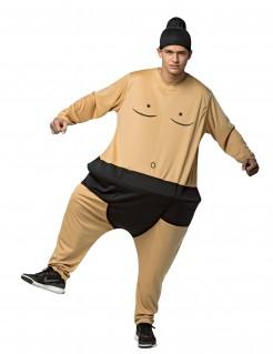 Lustiges Sumo-Ringer Kostüm Overall für Erwachsene hautfarben-schwarz