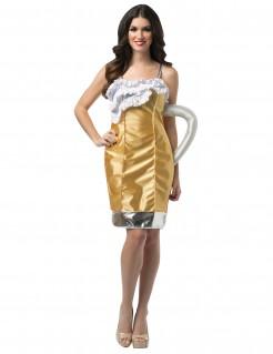 Bierglas Krug Damenkostüm gelb-weiss-silber