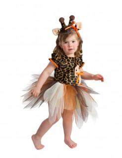 Edles Giraffenkostüm Kleid für Kleinkinder braun-orange-schwarz