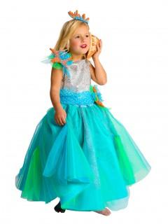 Schöne Meerjungfrau Prinzessin Kinderkostüm türkis-silber-orange