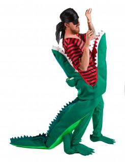 Krokodil Attacke auf Pirat Kostüm bunt