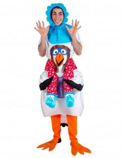 Lustiges Klapperstorch mit Baby Kostüm für Erwachsene bunt