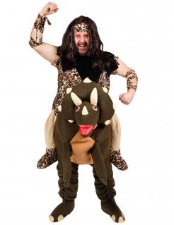 Lustiger Steinzeitmensch auf Dinosaurier Kostüm für Erwachsene bunt
