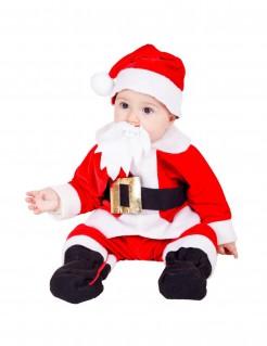 Süßes Weihnachtsmann Kostüm für Babys rot-schwarz-weiss