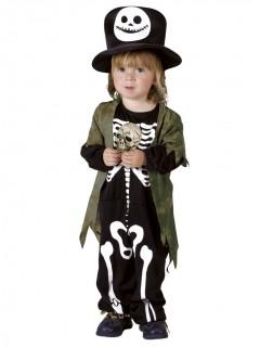 Süsses Skelett Halloween-Kinderkostüm schwarz-weiss