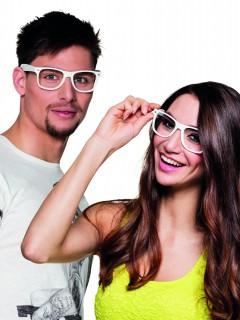 Nerd Brillen Spaßbrillen Set 4 Stück weiss