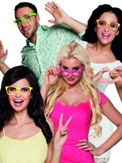 Nerd Brillen Spaßbrillen Set 4 Stück bunt