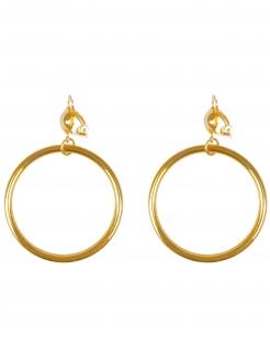 Glänzende Ohrringe Piraten Kreolen für Erwachsene gold