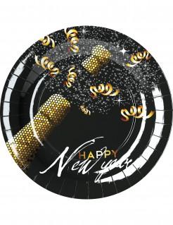 Silvester Party Pappteller Happy New Year 8 Stück schwarz-gold-weiss 23 cm
