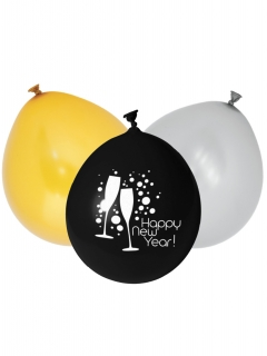 Silvester-Luftballons Happy New Year 12 Stück bunt 25cm