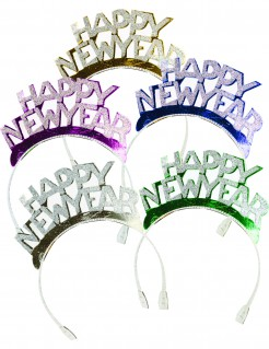 Silvester-Haarreifen Happy New Year 4 Stück bunt