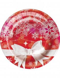 Weihnachten Pappteller klein 8 Stück rot-weiss 18cm