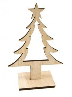 Tannenbaum-Dekoration aus Holz Weihnachtsdeko-Figur braun 25 cm