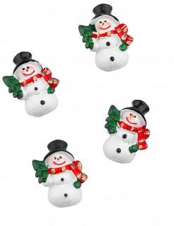 Weihnachtliche Deko Schneemänner selbstklebend 6 Stück bunt 3cm