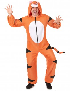 Tiger Onesie Kostüm Overall orange-schwarz