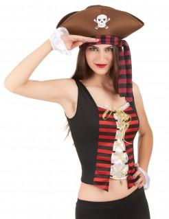 Piratenbraut Set Piraten Lady Accessoires weiss-schwarz-rot