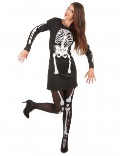 Elegantes Skelett-Damenkostüm Halloween schwarz-weiss