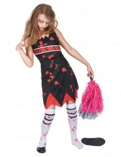 Zombie-Cheerleaderin-Kinderkostüm schwarz-rot