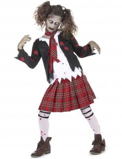 Zombie-Schülerin Halloween-Mädchenkostüm schwarz-weiss-rot