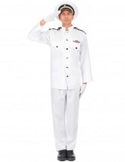 Marineoffizier Kostüm Kapitänskostüm weiss-schwarz-gold