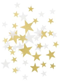 Tischdeko Sterne Konfetti weiss-gold 32g