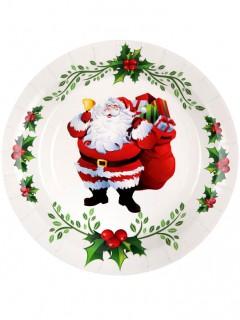 10 Weihnachts-Pappteller Weihnachtsmann 10 Stück weiss-rot-grün 22,5cm
