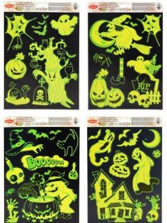 Leuchtende Halloween-Fenstersticker gelb-grün 27x20cm