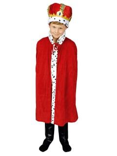 kleiner König Umhang für Kinder rot-weiss 80cm