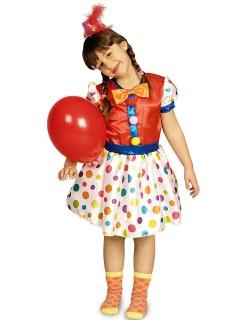 Süsses Clown-Mädchen Kinderkostüm rot-bunt