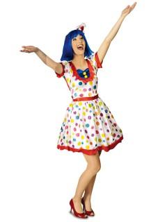 Süsse Clownfrau Damenkostüm gepunktet weiss-bunt
