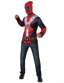 Kostümset Deadpool - T-Shirt und Strumpfmaske für Erwachsene rot-schwarz