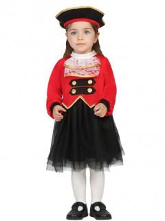 Süßes Piratin Kostüm Kleid für Kleinkinder rot-schwarz-gold
