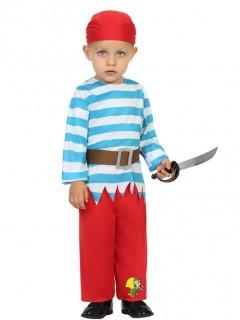 Piraten-Kleinkinderkostüm Kleiner Seeräuber weiss-blau-rot