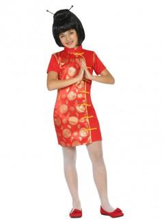 Kleine Chinesin Kinderkostüm Asien rot