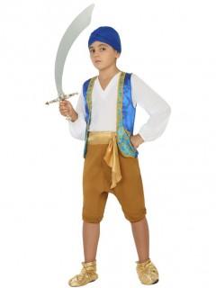 Orientalisches Prinzen-Kostüm Junge blau-weiß-braun