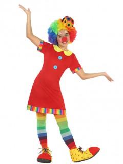 Clown-Mädchenkostüm Zirkuskostüm rot-bunt