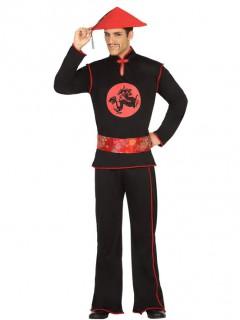 Herren-Kostüm Chinese schwarz-rot