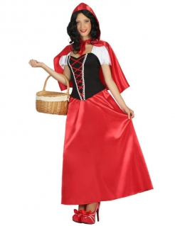 Elegantes Rotkäppchen Kleid Damen Kostüm rot-schwarz-weiss