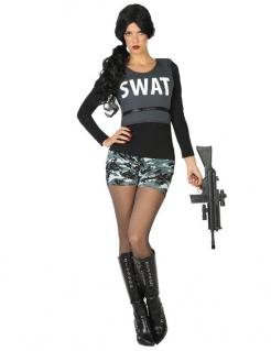 SWAT-Soldat - Kostüm für Damen grau-schwarz