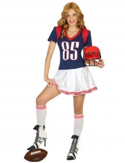 Amerikanische Football-Spielerin - Damenkostüm navyblau-weiß