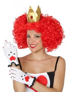 Herzkönigin Handschuhe Kostüm-Accessoire weiss-rot-schwarz