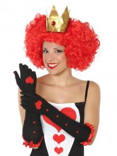 Handschuhe Herzkönigin lang schwarz-rot