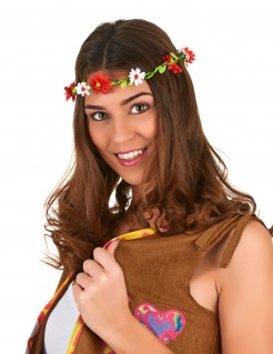 Hippie Blumenkranz Haarschmuck rot-weiss-grün