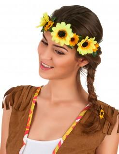 Hippie Blumen-Kranz Haarschmuck gelb-grün